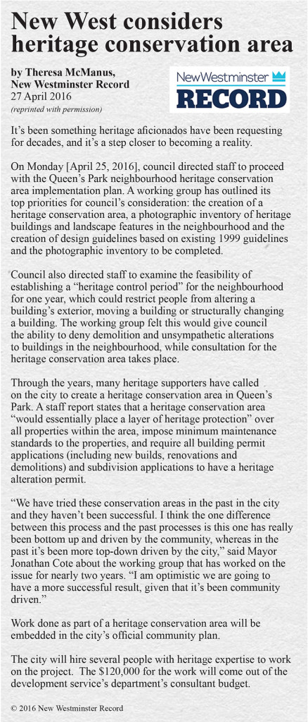 New Westminster Heritage Preservation Society - New West Record Heritage News