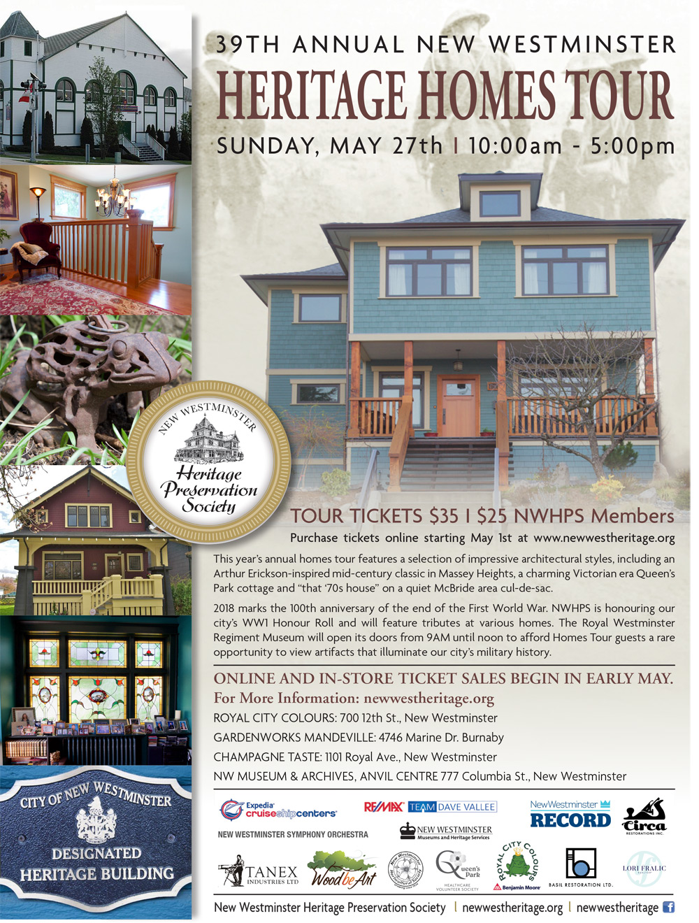 New Westminster Heritage Preservation Society - 2018 Heritage Homes Tour