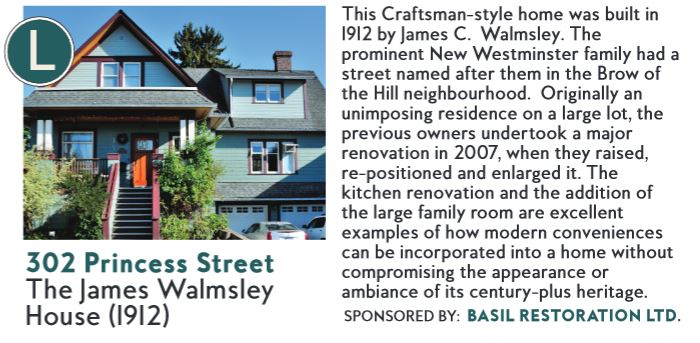 New Westminster Heritage Preservation Society - 2015 Homes Tour